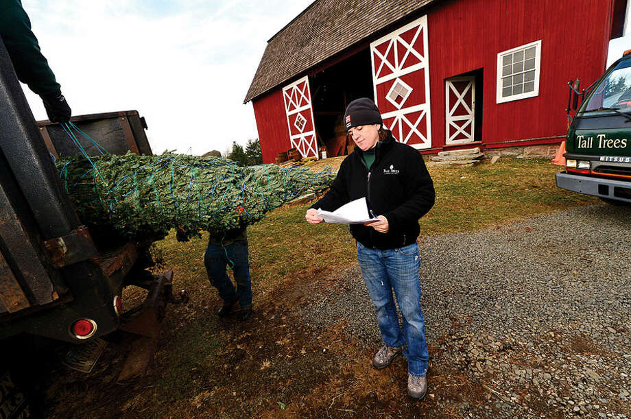 Workers with Ambler Farm, LEE Horticultural Services, Tall Trees Landscaping, Earthscapes and Wilton Lawn Services, including Tall Trees owner Emily Humiston, unload nearly 400 Christmas trees and over 250 wreaths for the farm's annual Christmas tree sale.
