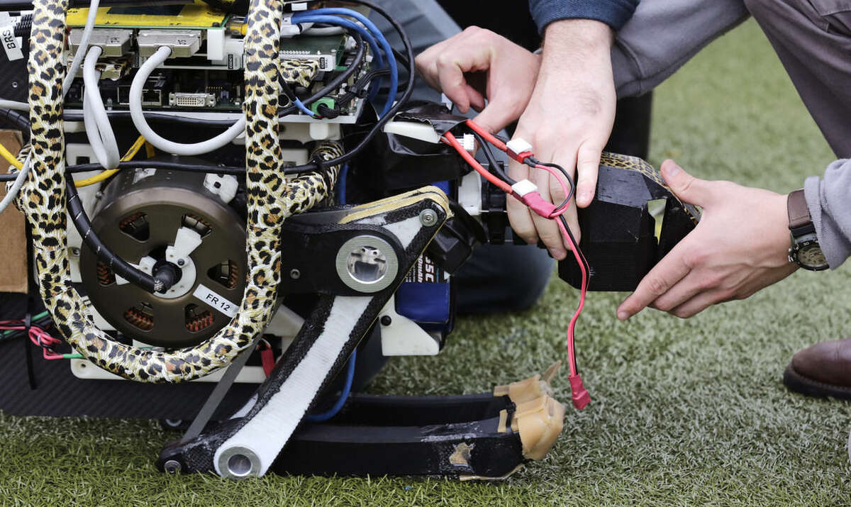 In this Oct. 24, 2014 photo, researchers adjust the head of a robotic cheetah on an athletic field at the MassachusettsInstitute of Technology in Cambridge, Mass. MIT scientists said the robot, modeled after the fastest land animal, may have real-world applications, including for prosthetic legs. (AP Photo/Charles Krupa)