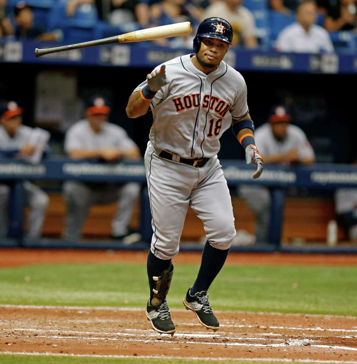 Although he went hitless in Sunday's 5-0 loss to the Rays, the Astros' Luis Valbuena has been among the AL's hottest third basemen at the plate.
