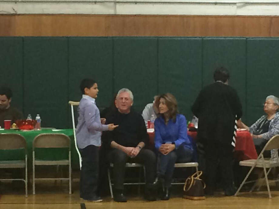 Contributed photoNorwalk Mayor Harry Rilling at the Norwalk Police Athletic League annual holiday party Saturday at Columbus Magnet School.