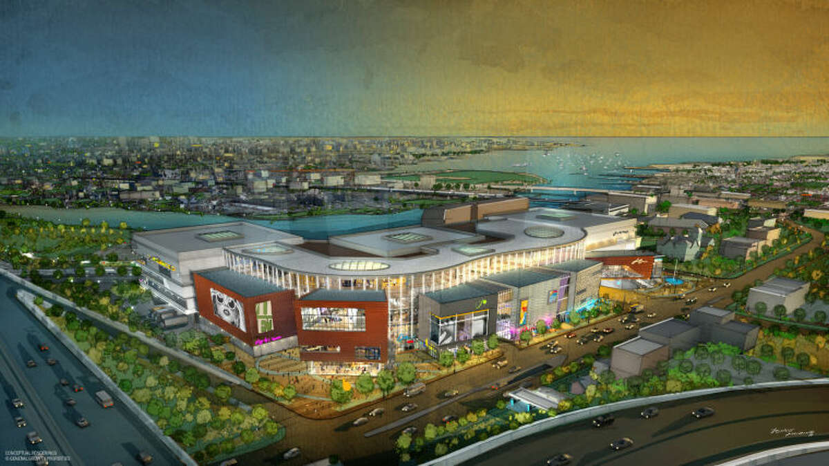 This rendering provided to The Hour by GGP and RTKL show a birds eye view of a the old proposed regional shopping center for Norwalk's 95/7 vacant plot of land.