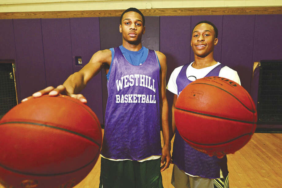 Photo by Erik TrautmannWesthill High School boys basketball captains, from left, Jeremiah Livingston and CJ Donaldson will lead the Vikings this season.