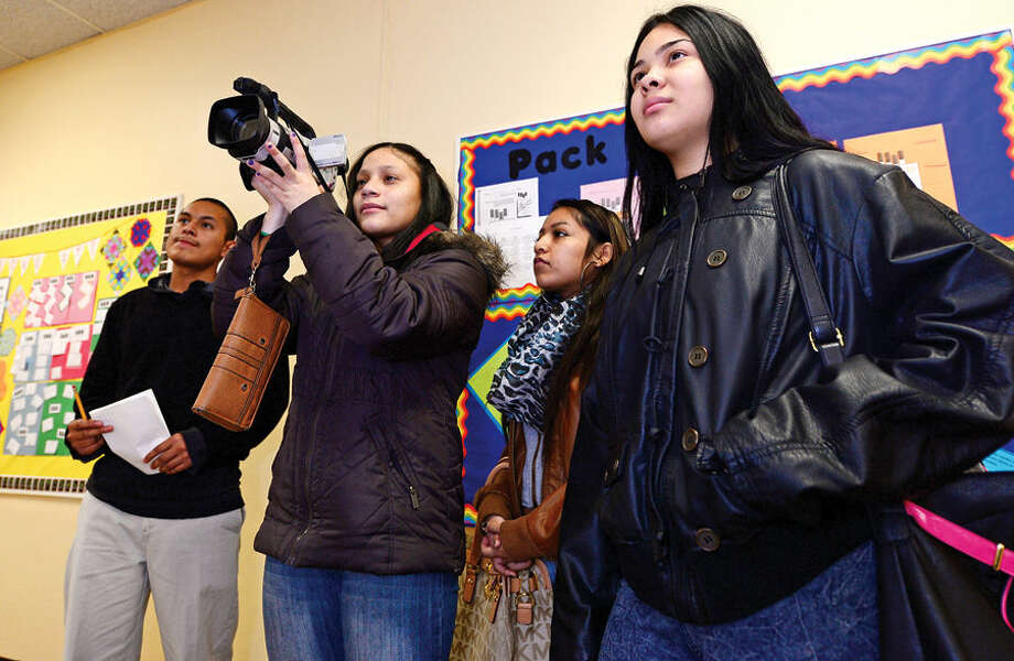 Hour photo / Erik Trautmann Briggs High School students including daniel Lopez, Nylene Blanusee, Carla Sanchez and Yvette Rios participate in a interview exercise as part of the school's weekly Friday Academy where local trades people introduce students to their career.