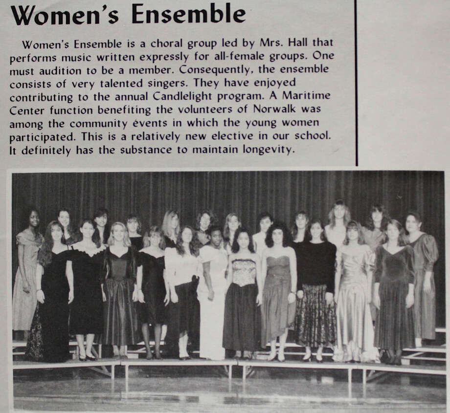 "Contributed photo Mia Love, the sixth left in the first row, appears in a 1991 Women's Ensemble yearbook picture. The choral group was led by Marsha Hall or ""Mrs. Hall,"" one of Love's music teachers at Norwalk High."