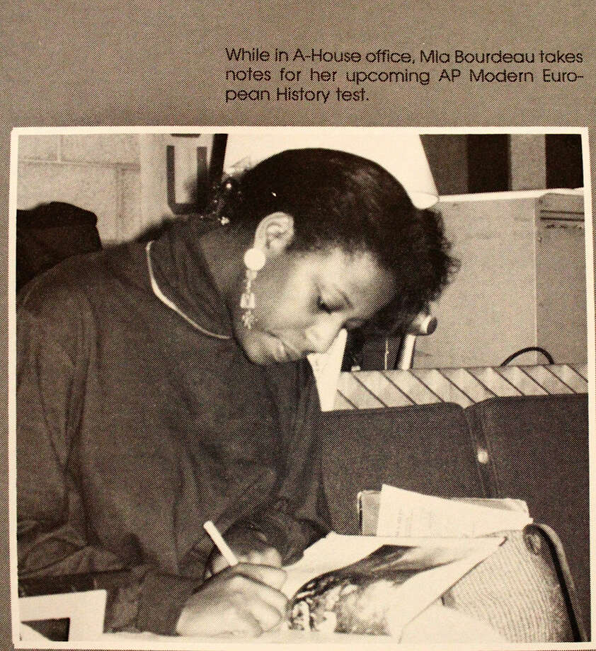 Contributed photo Mia Love appears in her 1993 yearbook, preparing for her AP Modern European History test at Norwalk High School.