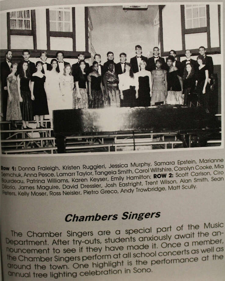 Contributed photo Mia Love, the fourth right in the first row, poses in her silky dress for the 1993 Chamber Singers group picture. Music lover, Love has participated in the advanced singing group at The Norwalk High School Music Department.