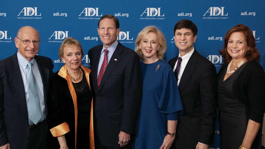 Honorees Peter and Carol Lilienthal, U.S. Sen. Richard Blumenthal, Honoree Judith Alter Kallman, ADL Connecticut Regional Director Gary Jones and Karyn Ginsberg Greenwald.