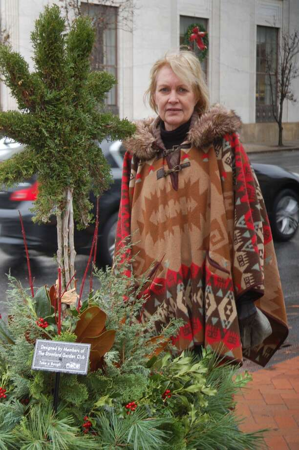 The Stamford Garden Club Floral Design Co-Chair, Wendy McCabe as she finishes the Garden Club's display of juniper, holly, magnolia, red twig dogwood which surrounds an Emerald Green Arbor vitae star topiary.  The Stamford Garden Club's President Valerie Mead and Floral Design Co-Chair, Susanne deMilt helped design, source and create the Garden Club's display.  The topiary was created by the Bountiful Farms Sculpture Collection in Oregon and supplied by Jennifer and Bill Masilotti of the High Ridge Nursery.