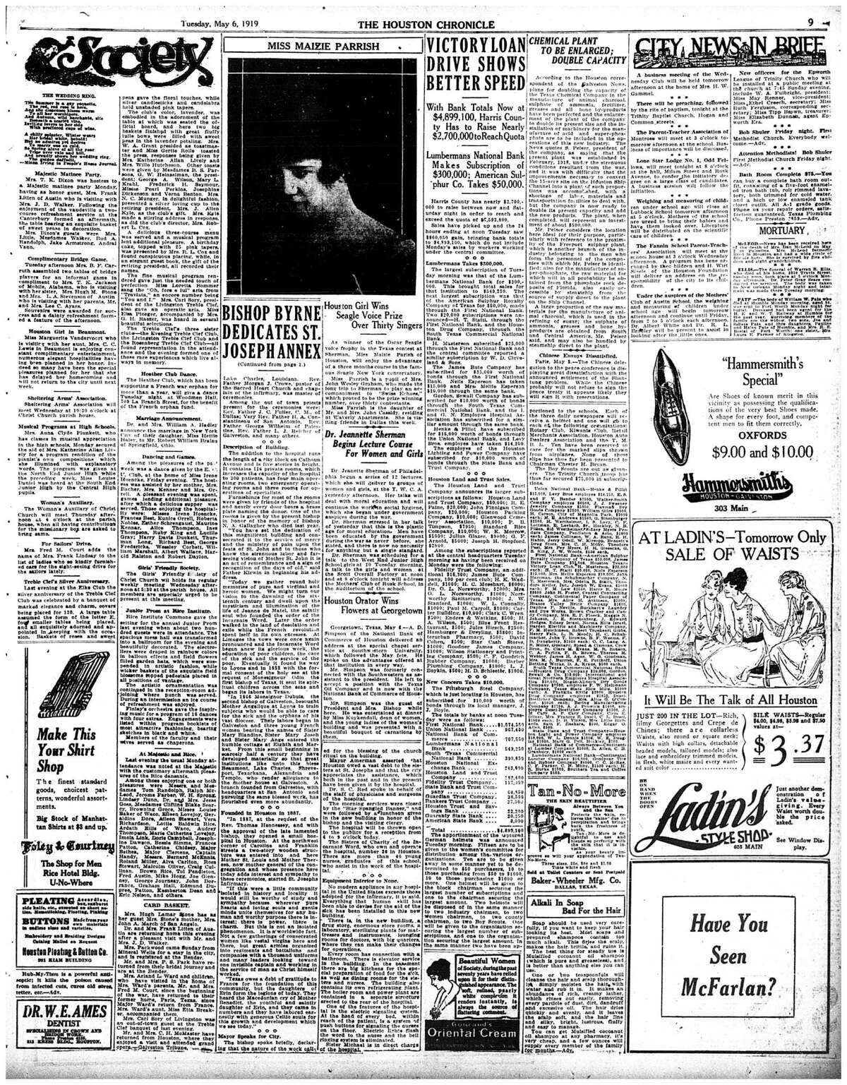 Houston Chronicle inside page (HISTORIC) - May 6, 1919 - section 1, page 9. BISHOP BYRNE DEDICATES ST. JOSEPH ANNEX (St. Joseph Hospital)