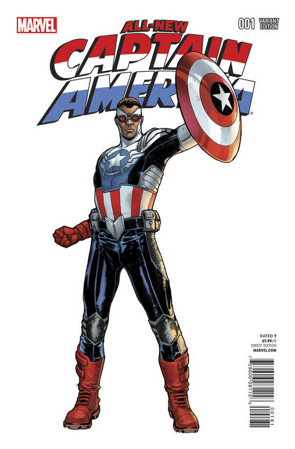 "This comic book cover image released by Marvel shows the ""All-New Captain America."" Marvel Comics and DC Comics are leading a push for diversity in their industry's mainstream characters. The new black Captain America comic book debuted in November. (AP Photo/Marvel)"