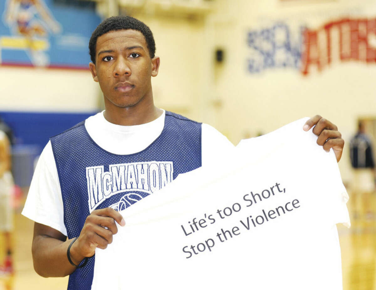 Hour photo/John Nash Brien McMahon junior basketball player Jahmerikah Green-Younger wants his generation's voice heard in the aftermath of police-involved violence in Ferguson, Missouri, and New York City.