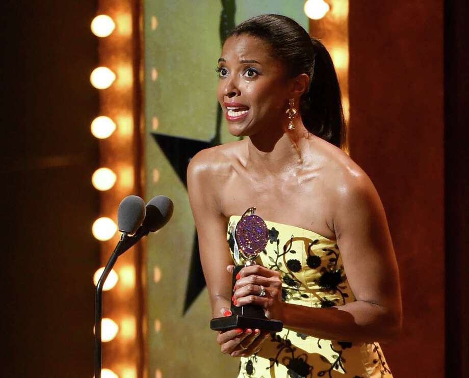 "Renee Elise Goldsberry accepts the award for featured actress in a musical for ""Hamilton""  at the Tony Awards at the Beacon Theatre on Sunday, June 12, 2016, in New York. (Photo by Evan Agostini/Invision/AP) Photo: Evan Agostini, Associated Press / Invision"