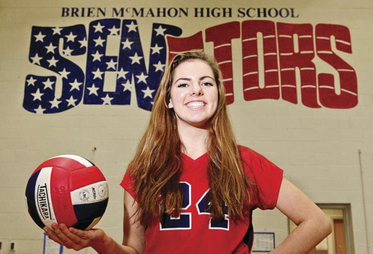 Hour photo / Erik Trautmann Brien McMahon's Claire Kostohryz grew from shy freshman into the Senators' captain and The Hour's 2014 All-Area girls volleyball MVP.