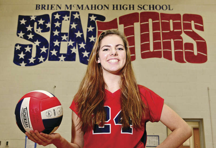 Hour photo / Erik TrautmannBrien McMahon's Claire Kostohryz grew from shy freshman into the Senators' captain and The Hour's 2014 All-Area girls volleyball MVP.