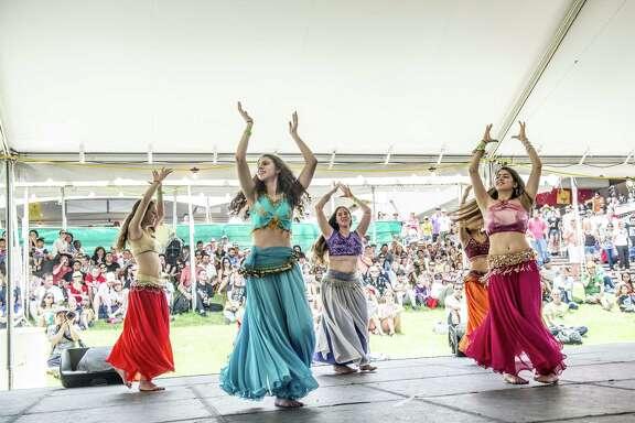 Members of the Lebanese Folkdancers of St. George perform onstage during the 45th annual Folklife Festival at UTSA HemisFair Park June 12.