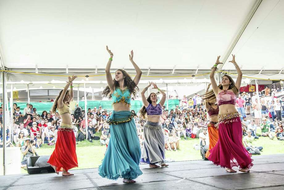 Members of the Lebanese Folkdancers of St. George perform onstage during the 45th annual Folklife Festival at UTSA HemisFair Park June 12. Photo: Matthew Busch /for The San Antonio Express News / © Matthew Busch 2016