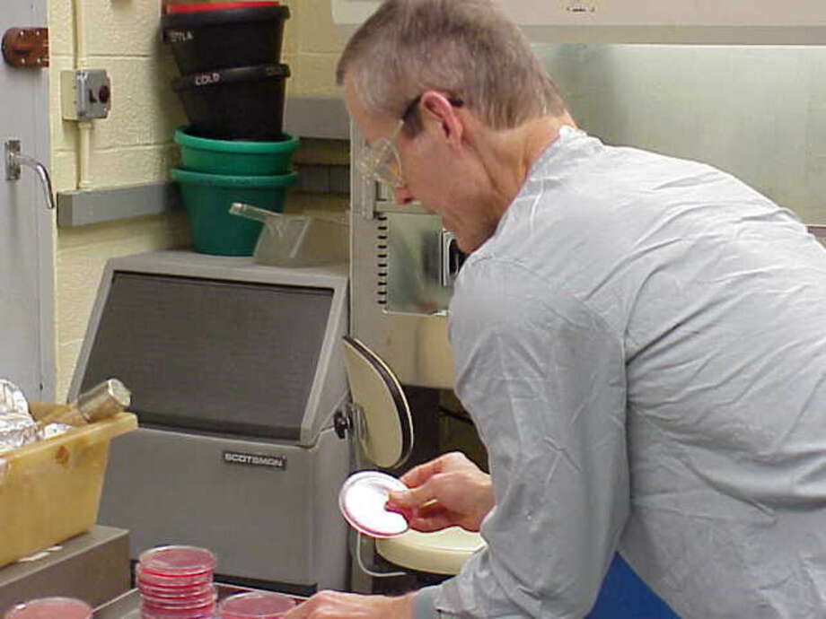 "This undated image attached to an email sent Wednesday, Nov. 14, 2001 by Bruce Ivins shows Ivins handling ""cultures of the now infamous 'Ames' strain of Bacillus anthracis"" at his lab according to the text of the message. The Government Accountability Office says the science the FBI used to investigate the 2001 anthrax attacks was flawed. The GAO released a report Friday on its findings. The agency didn't take a position on the FBI's conclusion that Army biodefense researcher Bruce Ivins acted alone in making and sending the powdered spores that killed five people and sickened 17 others. The report adds fuel to the debate among experts, including many of Ivins' co-workers at Fort Detrick in Frederick, Maryland, over whether Ivins could have made and mailed the anthrax-filled envelopes. (AP Photo)"