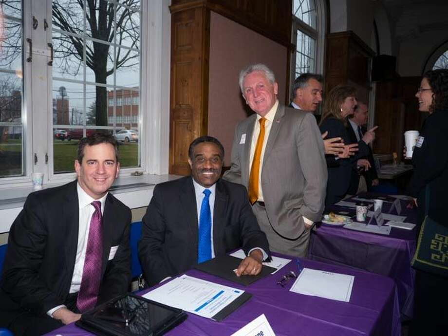 Rep. Chris Perone, Rep. Bruce Morris, and Mayor Harry Rilling were among county legislators at the Southwest CT Regional Legislative Forum on Mental Health Wed. Dec. 3