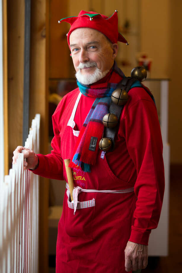 Hour photo/Chris Palermo. Roy Marsh, dressed as Santas helper, poses for a portrait at the Weston Historical Society Sunday afternoon.