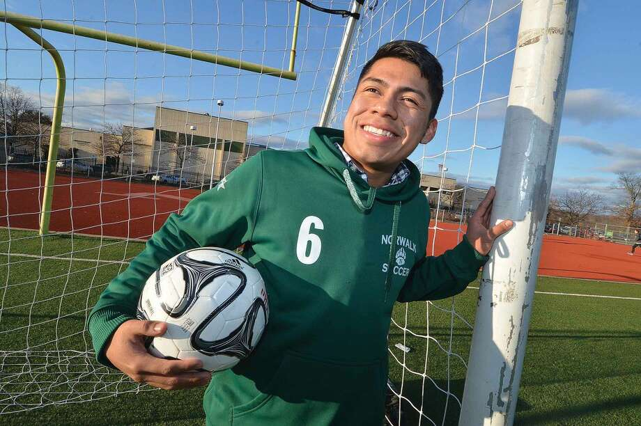 Hour Photo/Alex von Kleydorff Norwalk soccer player Jose Canahui