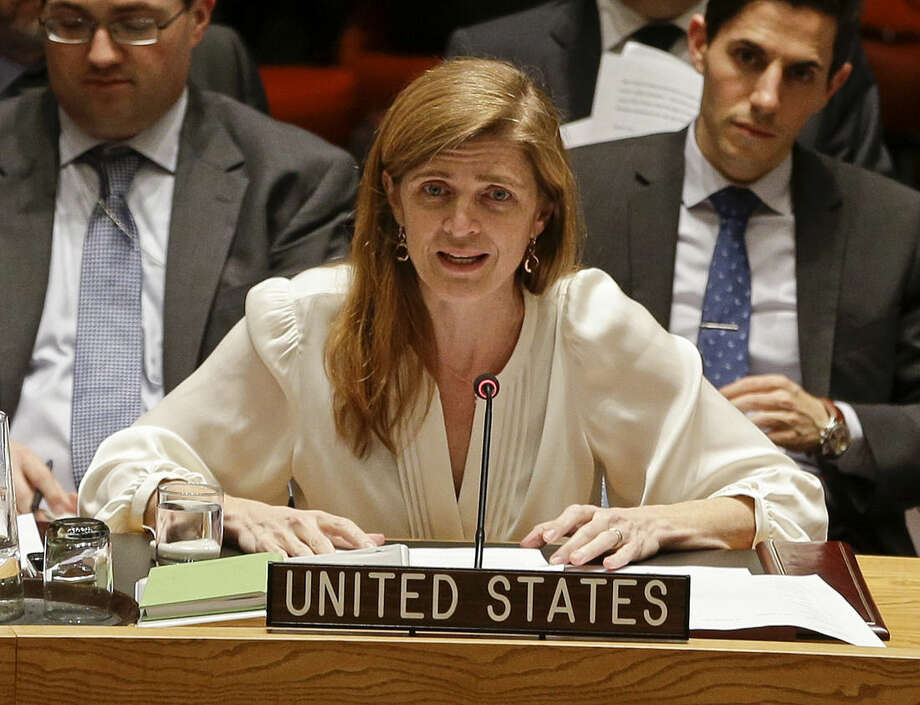 Samantha Power, the United States' ambassador to the United Nations, speaks during a meeting of the U.N. Security Council Monday, Dec. 22, 2014, at the U.N. headquarters. The U.N. Security Council placed North Korea's bleak human rights situation on its agenda Monday, a groundbreaking step toward possibly holding the nuclear-armed but desperately poor country and leader Kim Jong Un accountable for alleged crimes against humanity. (AP Photo/Frank Franklin II)