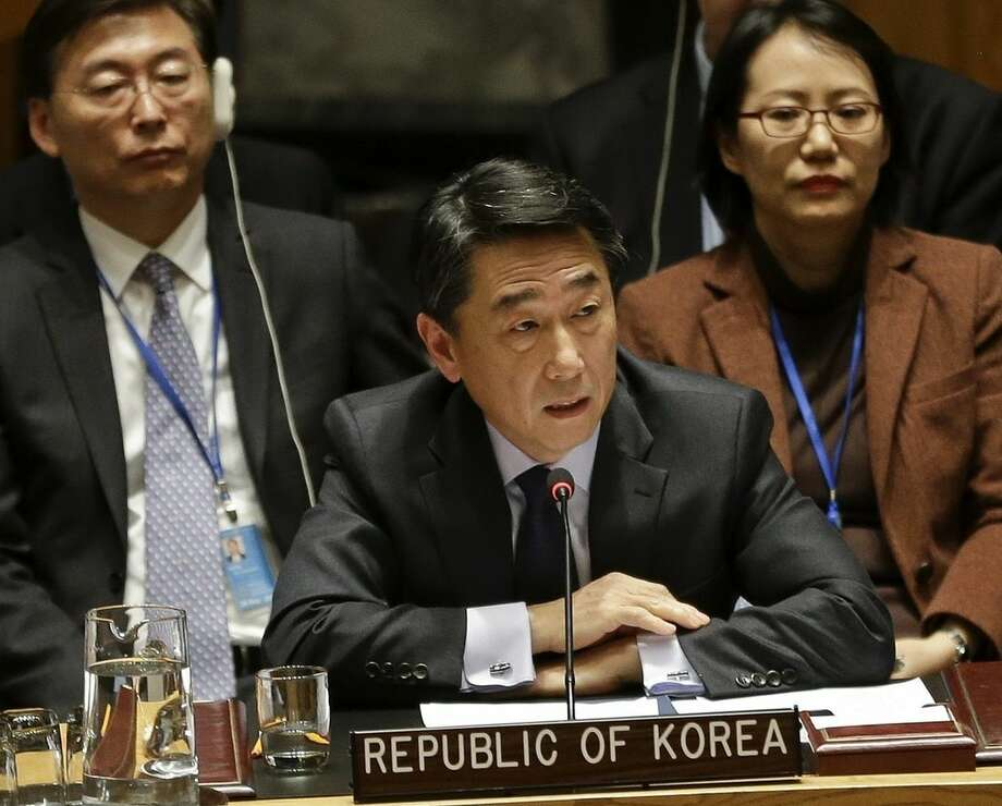 South Korea's ambassador to the United Nations, Oh Joon, speaks during a meeting of the U.N. Security Council Monday, Dec. 22, 2014, at the United Nations headquarters. The U.N. Security Council placed North Korea's bleak human rights situation on its agenda Monday, a groundbreaking step toward possibly holding the nuclear-armed but desperately poor country and leader Kim Jong Un accountable for alleged crimes against humanity. (AP Photo/Frank Franklin II)