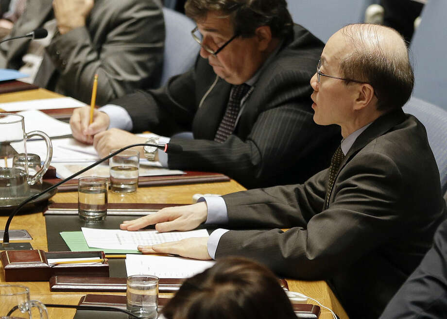 China's U.N. Ambassador Liu Jieyi speaks during a meeting of the U.N. Security Council Monday, Dec. 22, 2014, at the United Nations headquarters. The U.N. Security Council placed North Korea's bleak human rights situation on its agenda Monday, a groundbreaking step toward possibly holding the nuclear-armed but desperately poor country and leader Kim Jong Un accountable for alleged crimes against humanity. (AP Photo/Frank Franklin II)