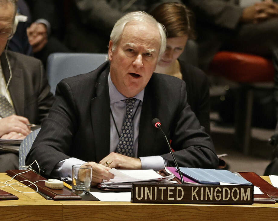 Mark Lyall Grant, the United Kingdom's Ambassador to the United Nations, speaks during a meeting of the U.N. Security Council Monday, Dec. 22, 2014, at the U.N. headquarters. The U.N. Security Council placed North Korea's bleak human rights situation on its agenda Monday, a groundbreaking step toward possibly holding the nuclear-armed but desperately poor country and leader Kim Jong Un accountable for alleged crimes against humanity. (AP Photo/Frank Franklin II)