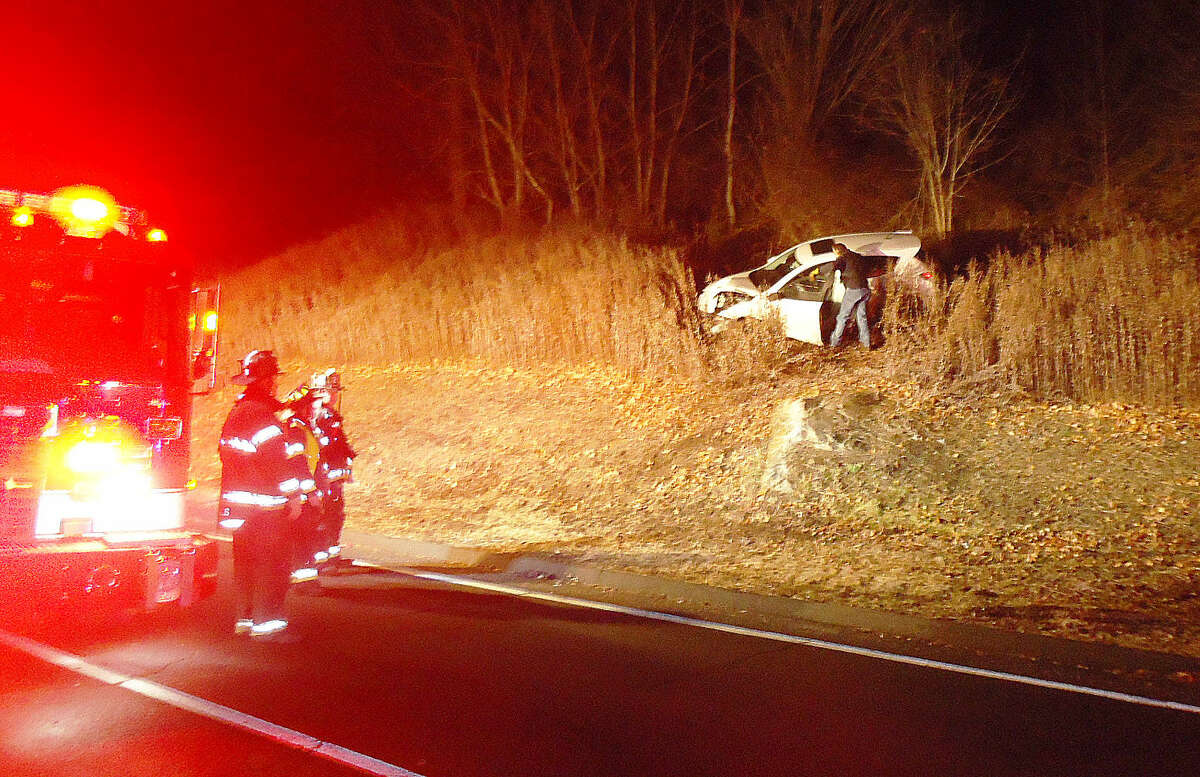 Contributed photo Norwalk Fire personnel respond to an accident at the end of Route 7 Connector on Monday night.