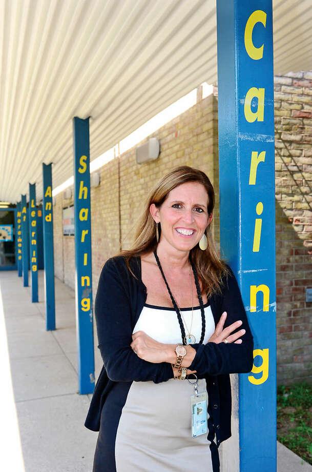 Hour photo / Erik Trautmann New Naramke Elementary School principal Patti Mattera on the first day of school.