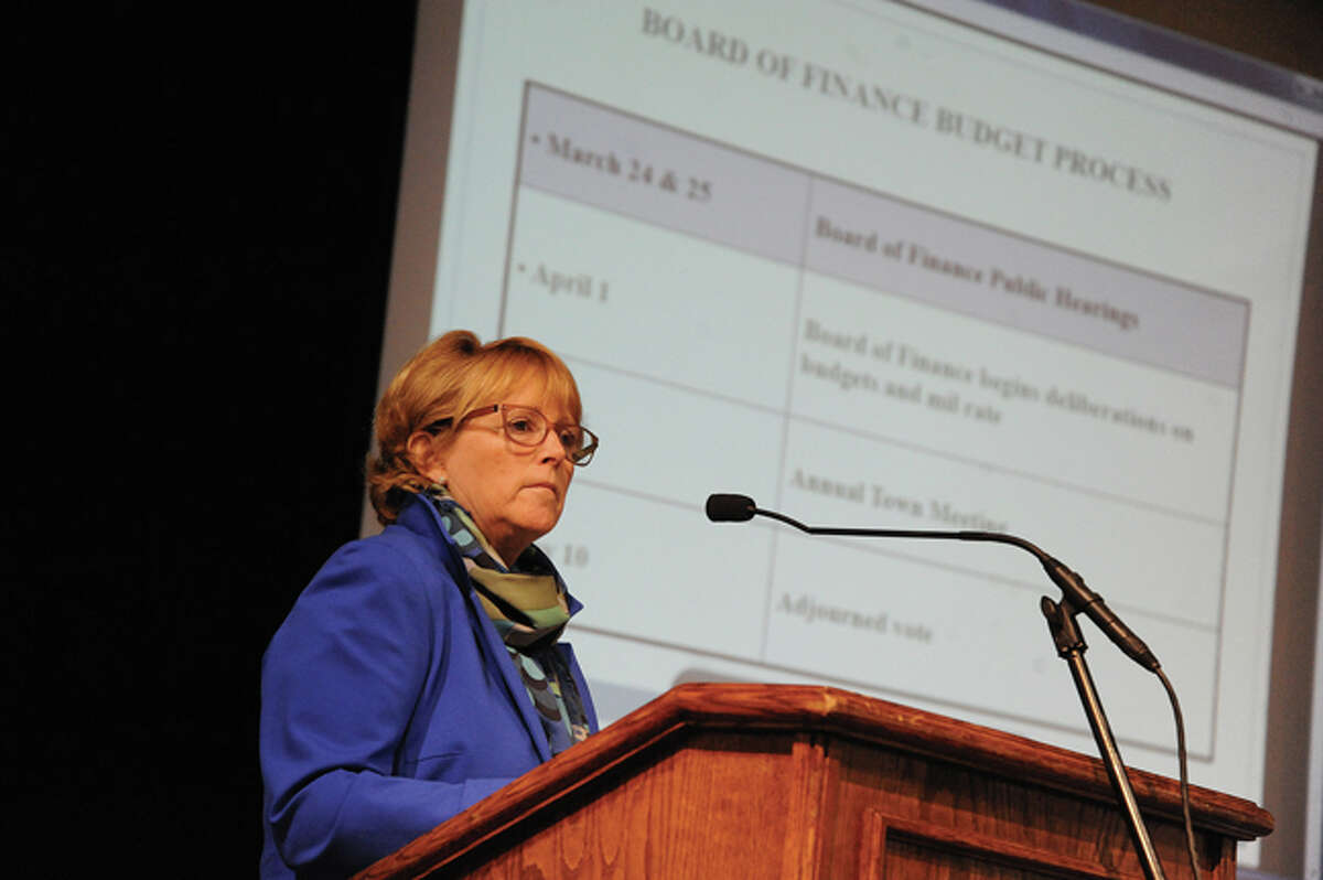 Lynne Vanderslice, vice chairwoman of the Wilton Board of Finance, speaks Tuesday at the Middlebrook School auditorium during the 2014-15 municipal budget meeting.