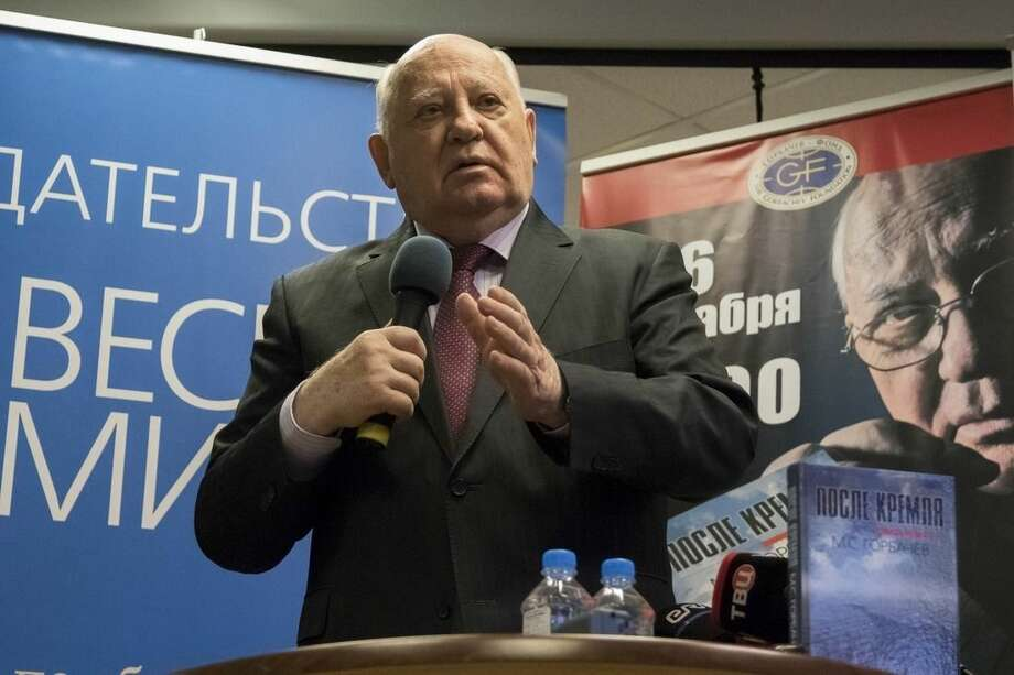 "Former Soviet leader Mikhail Gorbachev speaks during a presentation of his new book ""After Kremlin"" in a book store in Moscow, Russia, Friday, Dec. 26, 2014. Gorbachev criticized the West for the latest tensions with Russia, saying that Russian President Vladimir Putin was responding to Western moves. (AP Photo/Alexander Zemlianichenko)"