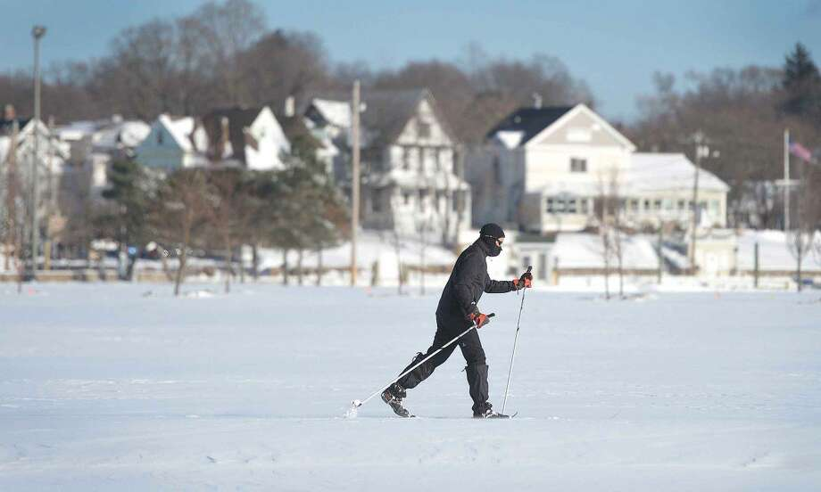 Hour Photo/Alex von Kleydorff. Friday's snow was perfect for Cross Country skiing at Veterans Park in Norwalk