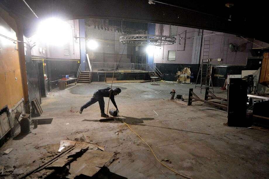 Hour Photo/Alex von Kleydorff Workers make progress on the interior of the Wall Street Theater