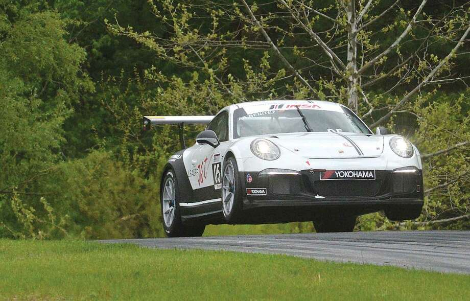 Hour Photo/Alex von Kleydorff Angel Benitez Jr. flys his #05 Porsche up and over the Uphill on his way to a first place finnish in the Porsche GT3 Cup Challenge USA by Yokohama at Lime Rock Park, Memorial day weekend
