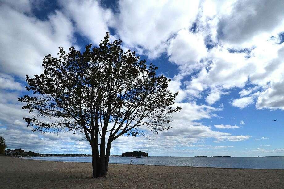 Hour Photo/Alex von Kleydorff Bright blue skies on last day of the summer season at Calf Pasture Beach