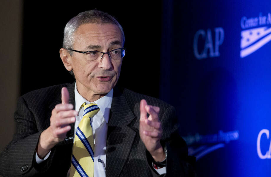 FILE - In this Nov. 19, 2014 file photo, Counselor to the President John Podesta speaks in Washington, Wednesday, Nov. 19, 2014. In the year that will pass before the 2016 campaign for president formally kicks off with the votes in the Iowa Caucus, any number of candidates, donors, political operatives _ and people who have nothing to do with American politics _ will shape the race for the White House. (AP Photo/Manuel Balce Ceneta, File)