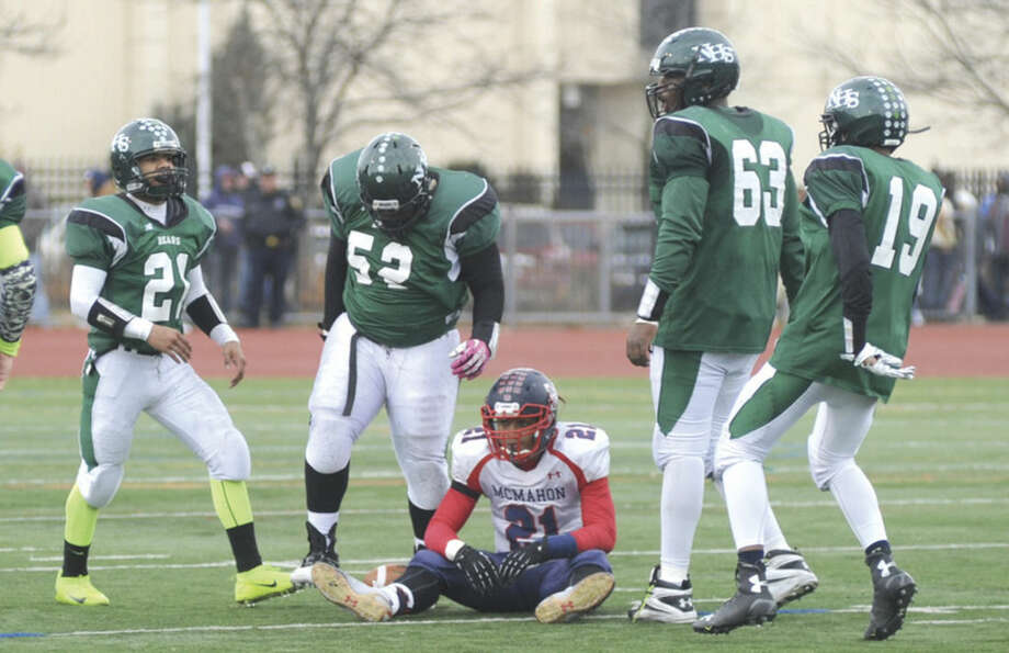 Hour photo/John Nash - Norwalk defeated Brien McMahon 33-22 in their annual Thanksgiving Day football game.
