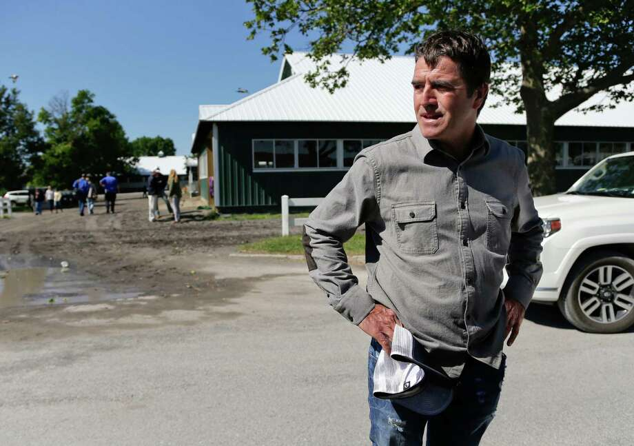 Keith Desormeaux, trainer for Belmont Stakes hopeful and Preakness Stakes winner Exaggerator, pauses while answering questions for the media at Belmont Park, Thursday, June 9, 2016, in Elmont, N.Y. Exaggerator will compete in the 148th running of the Belmont Stakes horse race on Saturday. (AP Photo/Julie Jacobson) ORG XMIT: NYJJ107 Photo: Julie Jacobson / Copyright 2016 The Associated Press. All rights reserved. This m