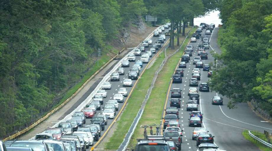 Hour Photo/Alex von Kleydorff Traffic crawls on the Merritt Parkway