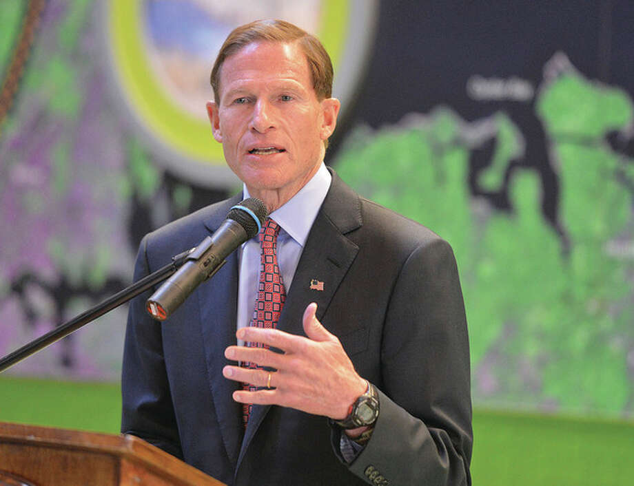 Hour Photo/Alex von KleydorffSenator Richard Blumenthal speaks during the Grant Award announcement at The Maritime Aquarium for funds to improve the health of Long Island Sound.