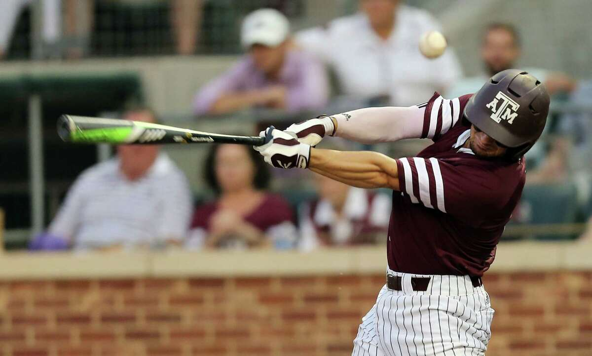 Texas A&M's Ryne Birk (2) fouls off a ball against TCU during the first inning of a NCAA college baseball Super Regional tournament game, Sunday, June 12, 2016, in College Station, Texas. (AP Photo/Sam Craft)