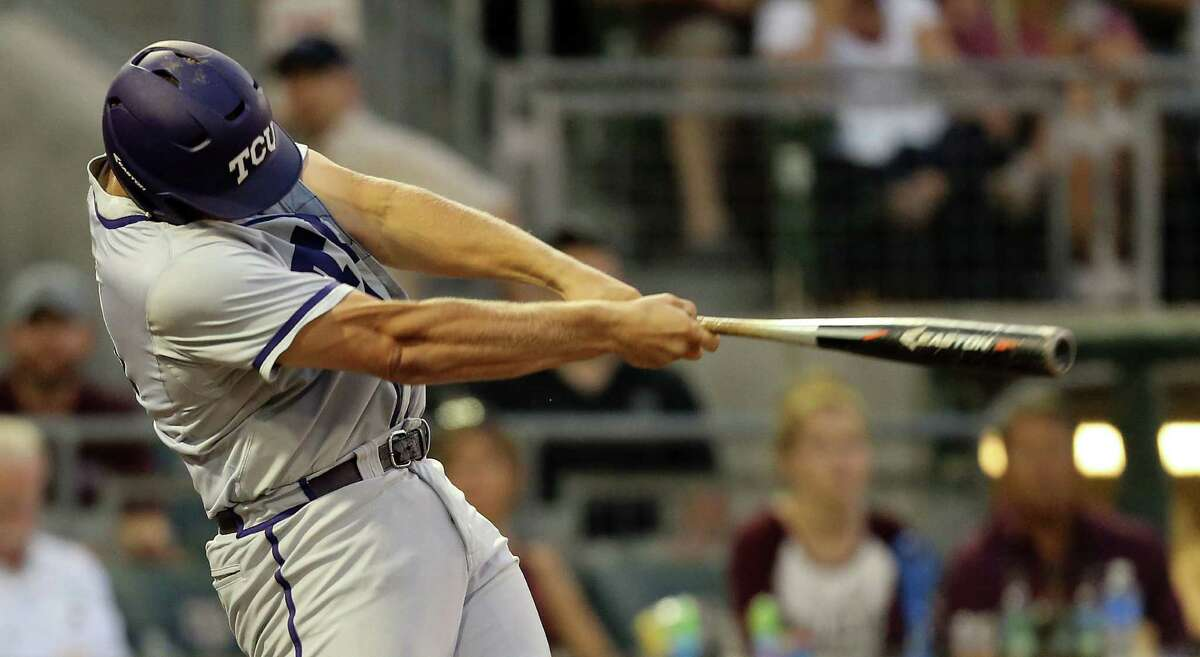 TCU's Luken Baker (19) hits a single againat Texas A&M during the second inning of a NCAA college baseball Super Regional tournament game, Sunday, June 12, 2016, in College Station, Texas. (AP Photo/Sam Craft)