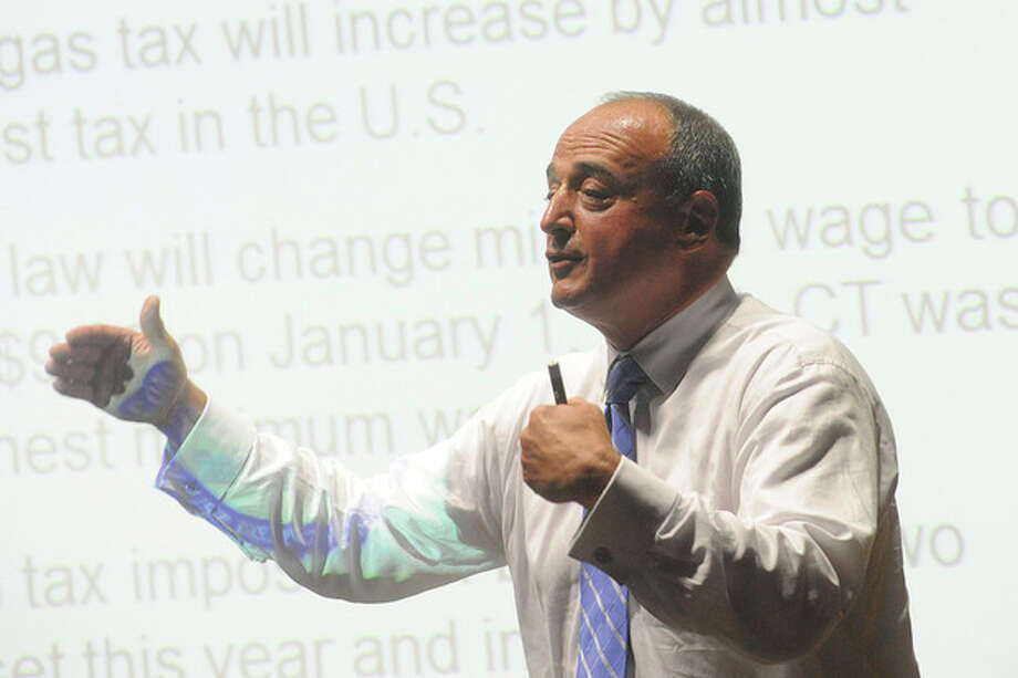 """Hour photo / Matthew VinciState House Republican Minority Leader Lawrence Cafero, R-142 , speaks at his own """"State of the State"""" address at Norwalk Community College on Monday."""