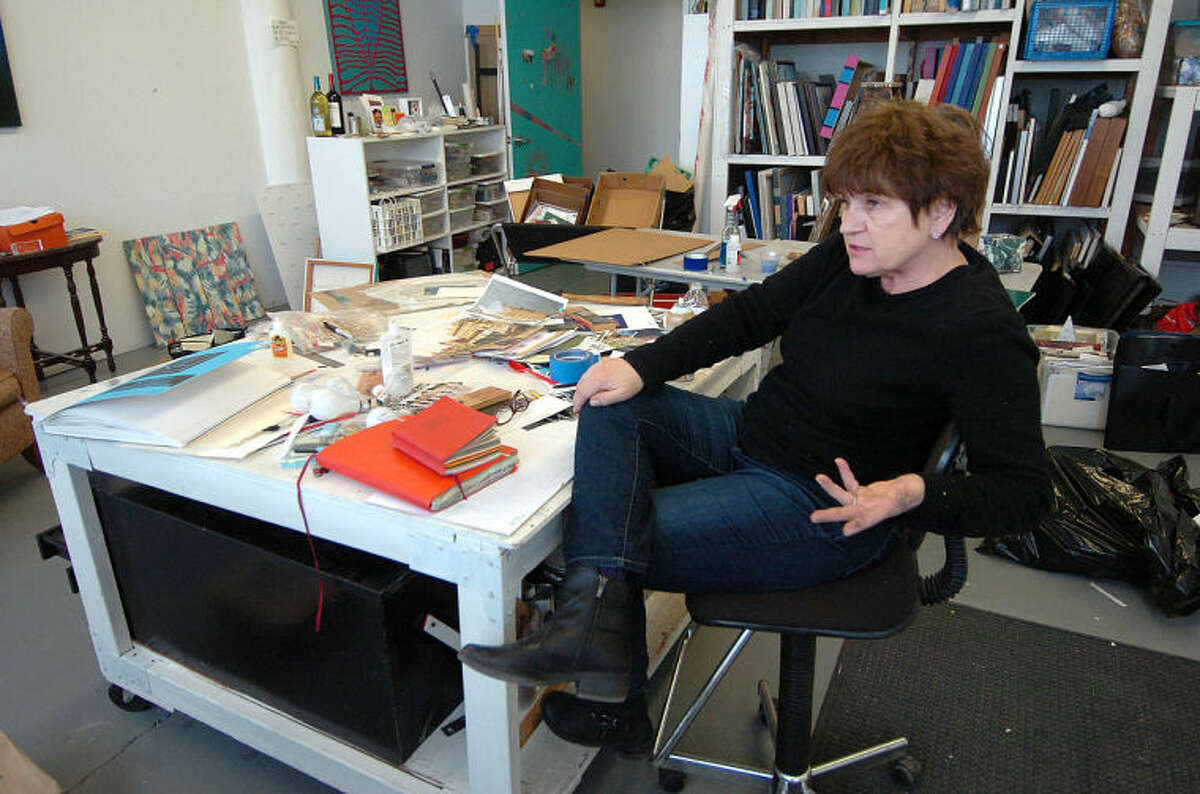 Artist Lina Morielli in her studio at the Loft Artist Association Studios and Gallery in Stamford.