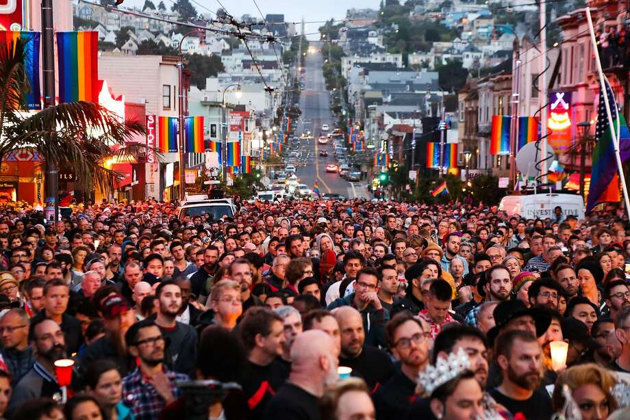 Thousands gather during the Sunday evening vigil in the Castro district to mourn and honor the victims of the massacre at Orlando's Pulse nightclub. Photo: Gabrielle Lurie, Special To The Chronicle
