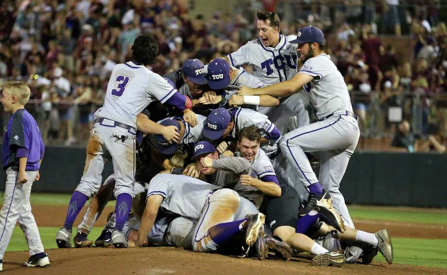 Members of the TCU baseball team dog pile on the pitchers mound after beating Texas A&M 4-1 in a NCAA college baseball Super Regional tournament game, Sunday, June 12, 2016, in College Station, Texas. (AP Photo/Sam Craft) Photo: Sam Craft, Associated Press / AP