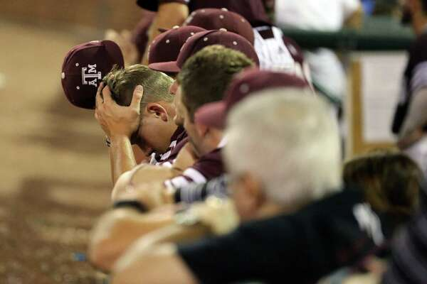 Texas A&M's Jace Vines (38) reacts after the second out of the ninth inning against TCU in a NCAA college baseball Super Regional tournament game, Sunday, June 12, 2016, in College Station, Texas. TCU won 4-1 to advance to the college world series.(AP Photo/Sam Craft)