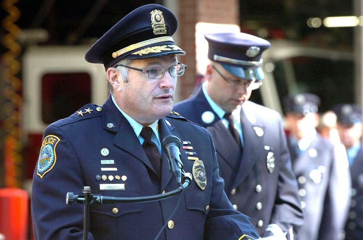Wilton Police Chief Michael Lombardo speaks to the crowd at Wilton's 9/11 anniversary program.