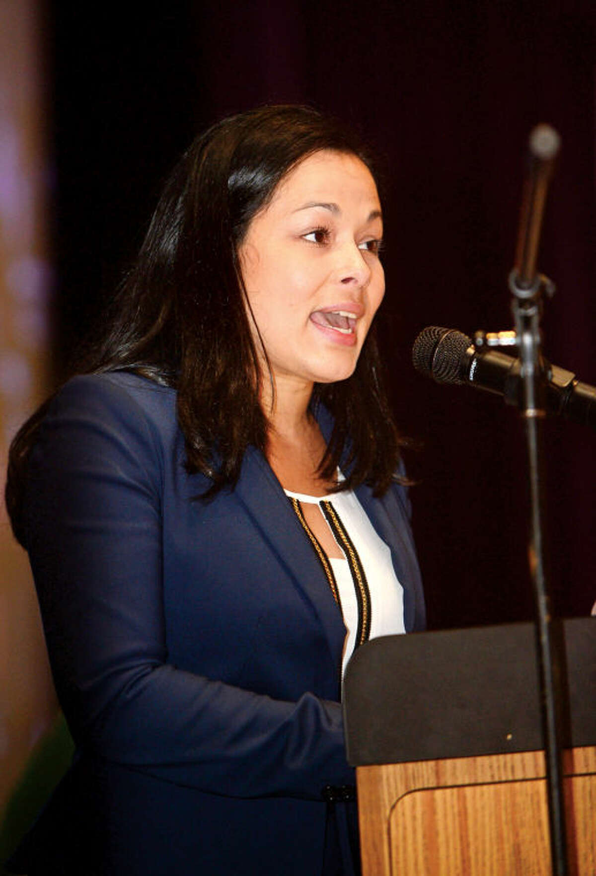 Teacher of the Year Andrea Mendez Orozco addresses Stamford Public School staff during the staff convocation at Westhill High School Wednesday morning.